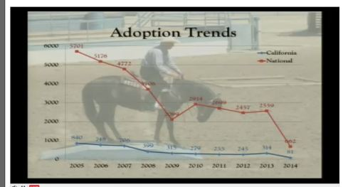Screen shot of Adoption Trends Slide  at the BLM Wild Horse and Burro Advisory Board meeting April 14-15, 2014